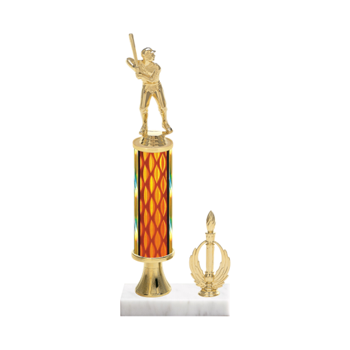 "13"" Baseball Trophy with Baseball Figurine, 5"" colored column, gold riser, side trim and marble base."