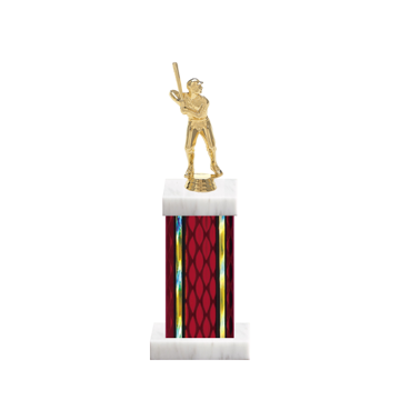 "12"" Baseball Trophy with Baseball Figurine, 5"" colored column and marble base."