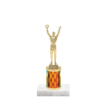 "7"" Achievement Trophy with Achievement Figurine, 2"" colored column and marble base."