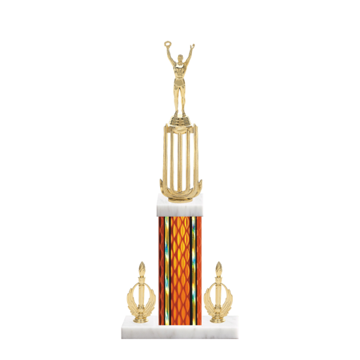 "18"" Achievement Trophy with Achievement Figurine, 7"" colored column, double side trim and marble base."