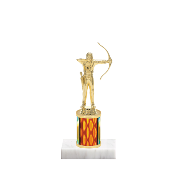"7"" Archery Trophy with Archery Figurine, 2"" colored column and marble base."