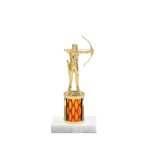 """7"""" Archery Trophy with Archery Figurine, 2"""" colored column and marble base."""