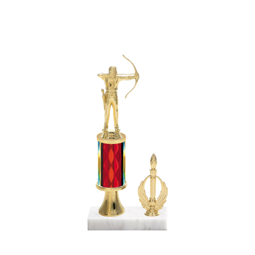 """11"""" Archery Trophy with Archery Figurine, 3"""" colored column, gold riser, side trim and marble base."""