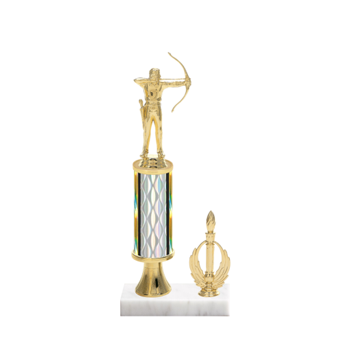 "12"" Archery Trophy with Archery Figurine, 4"" colored column, gold riser, side trim and marble base."