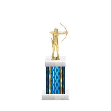 """11"""" Archery Trophy with Archery Figurine, 4"""" colored column and marble base."""