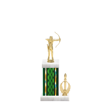 """13"""" Archery Trophy with Archery Figurine, 5"""" colored column, side trim and marble base."""