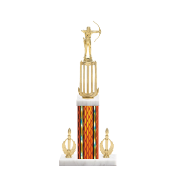 "18"" Archery Trophy with Archery Figurine, 7"" colored column, double side trim and marble base."