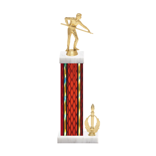 """15"""" Pool   Billiards Trophy with Pool   Billiards Figurine, 7"""" colored column, side trim and marble base."""