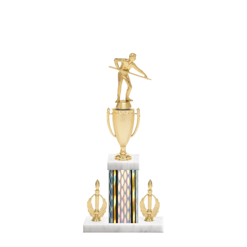 """16"""" Pool   Billiards Trophy with Pool   Billiards Figurine, 5"""" colored column, double side trim and marble base."""
