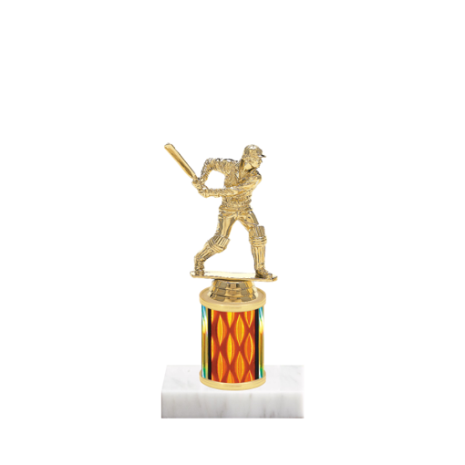 """7"""" Cricket Trophy with Cricket Figurine, 2"""" colored column and marble base."""
