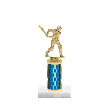 """8"""" Cricket Trophy with Cricket Figurine, 3"""" colored column and marble base."""