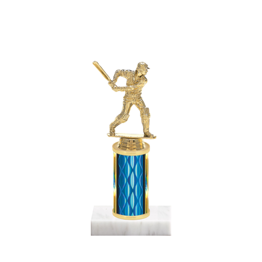 "8"" Cricket Trophy with Cricket Figurine, 3"" colored column and marble base."