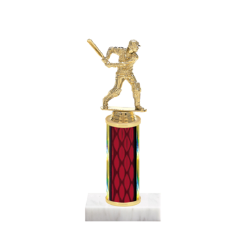 "9"" Cricket Trophy with Cricket Figurine, 4"" colored column and marble base."