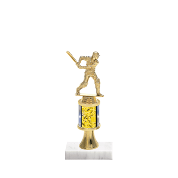 "10"" Cricket Trophy with Cricket Figurine, 2"" colored column, gold riser and marble base."