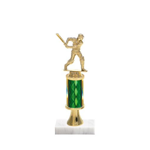 "11"" Cricket Trophy with Cricket Figurine, 3"" colored column, gold riser and marble base."