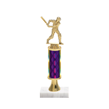"""12"""" Cricket Trophy with Cricket Figurine, 4"""" colored column, gold riser and marble base."""