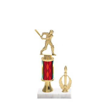 "11"" Cricket Trophy with Cricket Figurine, 3"" colored column, gold riser, side trim and marble base."