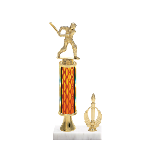 """13"""" Cricket Trophy with Cricket Figurine, 5"""" colored column, gold riser, side trim and marble base."""
