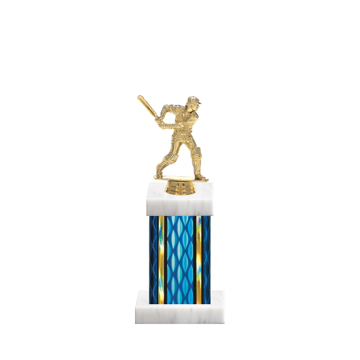 "11"" Cricket Trophy with Cricket Figurine, 4"" colored column and marble base."