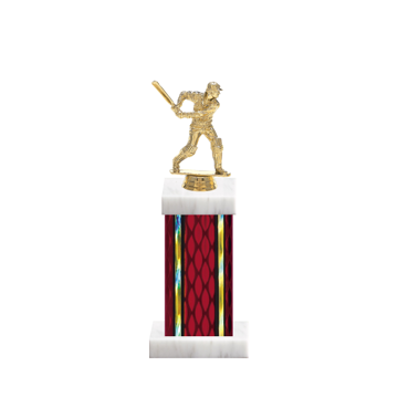 "12"" Cricket Trophy with Cricket Figurine, 5"" colored column and marble base."