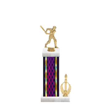 """14"""" Cricket Trophy with Cricket Figurine, 6"""" colored column, side trim and marble base."""