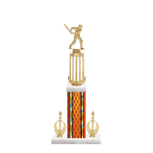 "18"" Cricket Trophy with Cricket Figurine, 7"" colored column, double side trim and marble base."