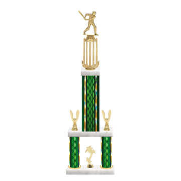 """26"""" Multi-Tier Cricket Trophy with Cricket Figurine, 9"""" colored top column, 5"""" colored bottom columns, cup riser, double side trim and center base trim."""