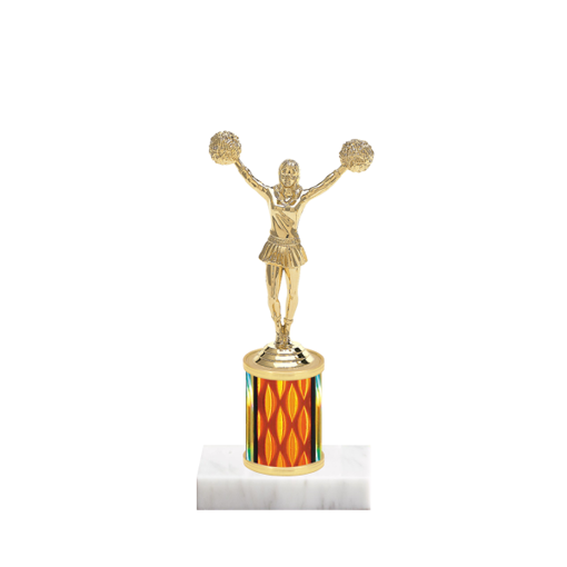 "7"" Cheerleading Trophy with Cheerleading Figurine, 2"" colored column and marble base."