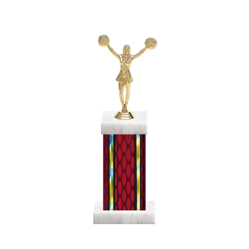 "12"" Cheerleading Trophy with Cheerleading Figurine, 5"" colored column and marble base."