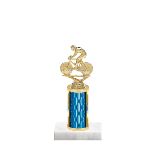 "8"" Cycling Trophy with Cycling Figurine, 3"" colored column and marble base."
