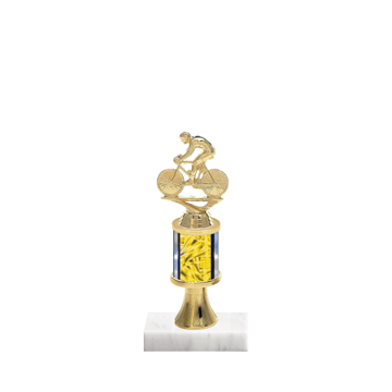 """10"""" Cycling Trophy with Cycling Figurine, 2"""" colored column, gold riser and marble base."""
