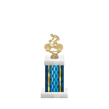 """11"""" Cycling Trophy with Cycling Figurine, 4"""" colored column and marble base."""