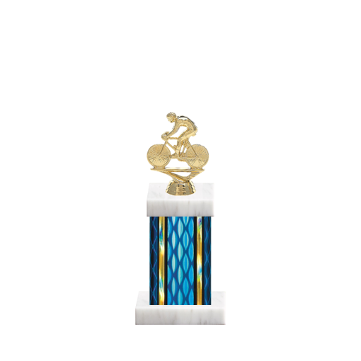 "11"" Cycling Trophy with Cycling Figurine, 4"" colored column and marble base."
