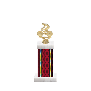 """12"""" Cycling Trophy with Cycling Figurine, 5"""" colored column and marble base."""