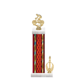 """15"""" Cycling Trophy with Cycling Figurine, 7"""" colored column, side trim and marble base."""