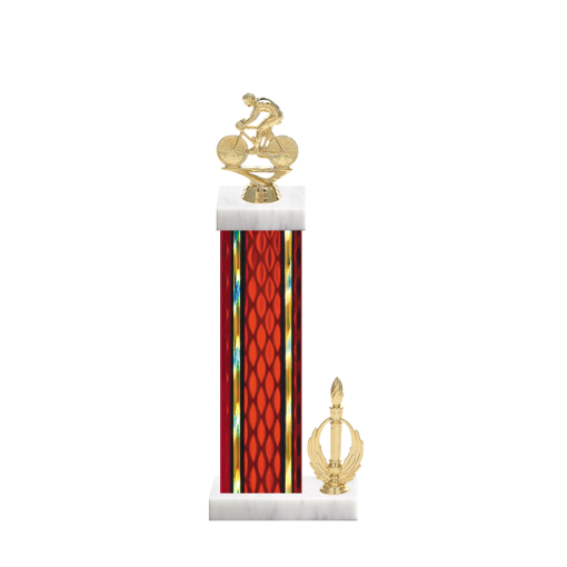 "15"" Cycling Trophy with Cycling Figurine, 7"" colored column, side trim and marble base."