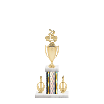 """16"""" Cycling Trophy with Cycling Figurine, 5"""" colored column, double side trim and marble base."""
