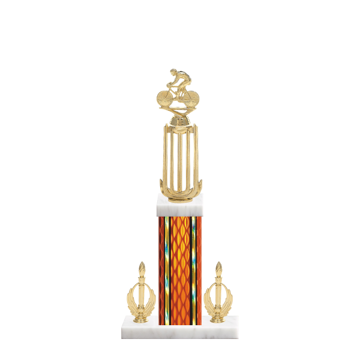 """18"""" Cycling Trophy with Cycling Figurine, 7"""" colored column, double side trim and marble base."""