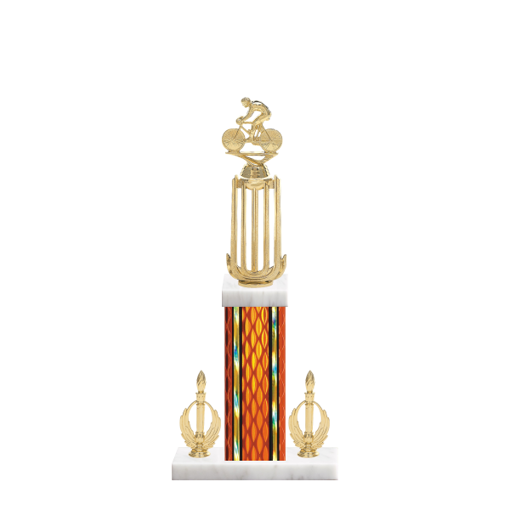 "18"" Cycling Trophy with Cycling Figurine, 7"" colored column, double side trim and marble base."