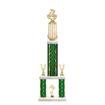 """26"""" Multi-Tier Cycling Trophy with Cycling Figurine, 9"""" colored top column, 5"""" colored bottom columns, cup riser, double side trim and center base trim."""