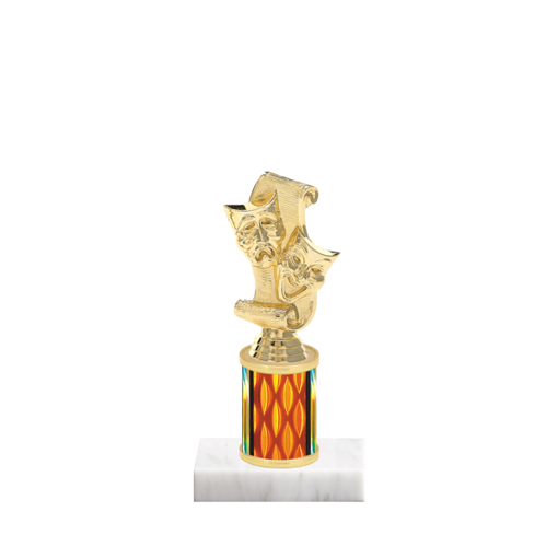 "7"" Drama Trophy with Drama Figurine, 2"" colored column and marble base."