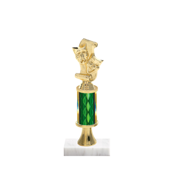 "11"" Drama Trophy with Drama Figurine, 3"" colored column, gold riser and marble base."