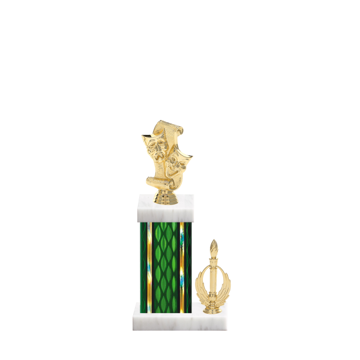 "13"" Drama Trophy with Drama Figurine, 5"" colored column, side trim and marble base."