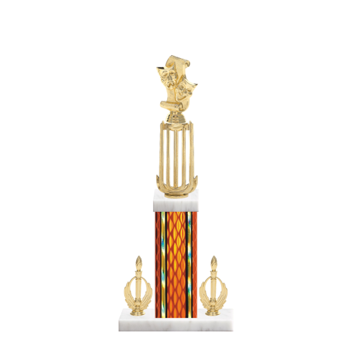 "18"" Drama Trophy with Drama Figurine, 7"" colored column, double side trim and marble base."