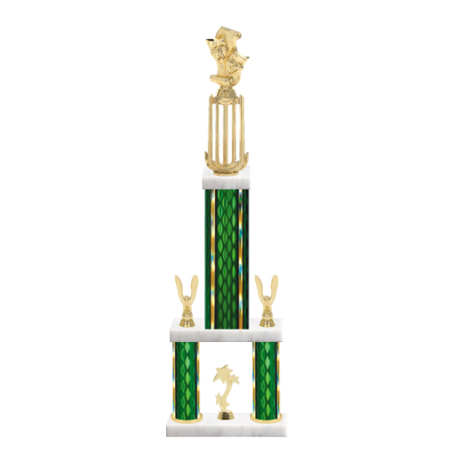 "26"" Multi-Tier Drama Trophy with Drama Figurine, 9"" colored top column, 5"" colored bottom columns, cup riser, double side trim and center base trim."