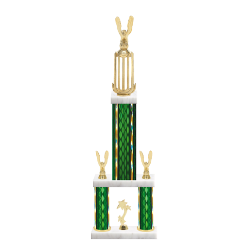 "26"" Multi-Tier Eagle Trophy with Eagle Figurine, 9"" colored top column, 5"" colored bottom columns, cup riser, double side trim and center base trim."