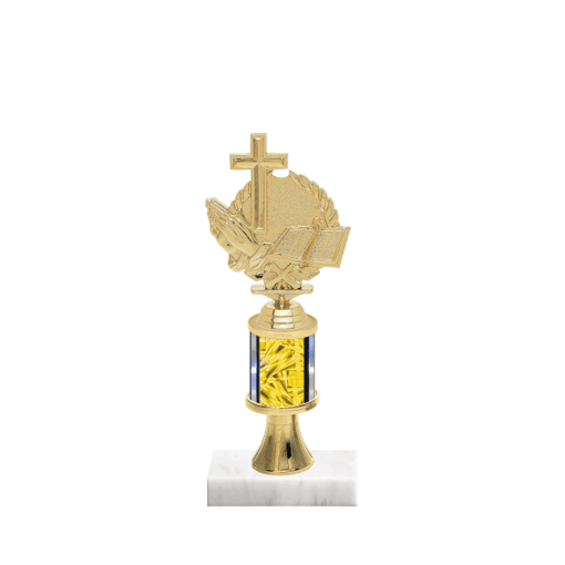 "10"" Cross Trophy with Cross Figurine, 2"" colored column, gold riser and marble base."