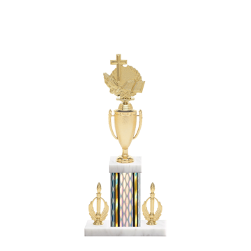 "16"" Cross Trophy with Cross Figurine, 5"" colored column, double side trim and marble base."