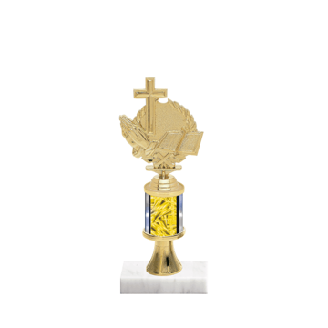 "10"" Religion Trophy with Religion Figurine, 2"" colored column, gold riser and marble base."