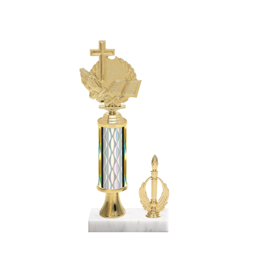 "12"" Religion Trophy with Religion Figurine, 4"" colored column, gold riser, side trim and marble base."